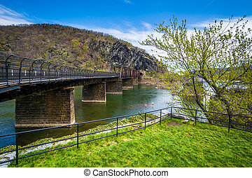 Old bridge over the Potomac River, in Harpers Ferry, West Virginia.