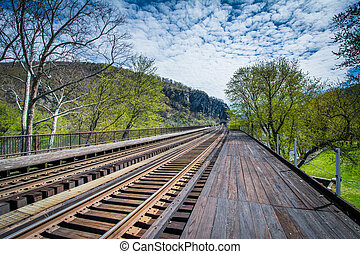Railroad tracks in Harpers Ferry, West Virginia