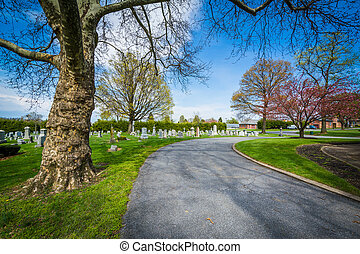 Road at Mount Olivet Cemetery in Frederick, Maryland
