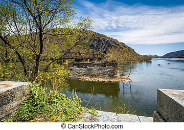 Ruins of an old bridge in the Potomac River, in Harpers...