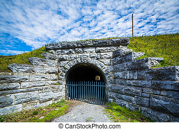 Stone wall and tunnel in Harpers Ferry, West Virginia.