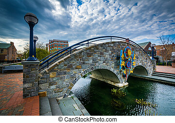 Stone bridge over Carroll Creek, in Frederick, Maryland