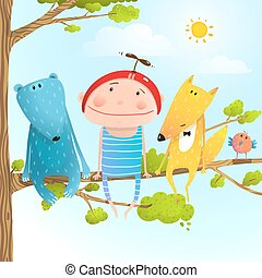 Child animal friends childhood sitting tree branch in sky -...