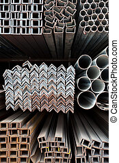 Metal pipes and angle iron  stack for  construction