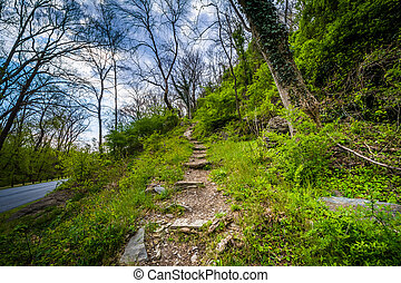 Trail ascending a hill, in Harpers Ferry, West Virginia.