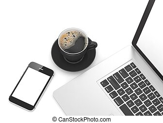 Laptop smartphone and coffee cup. 3d rendering.