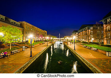 View of Carroll Creek at night, in Frederick, Maryland.