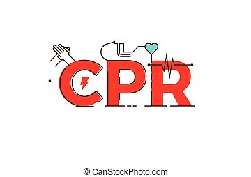 CPR word design illustration - CPR -cardiopulmonary...