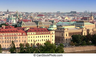 Prague, Czech Republic Panorama of the old city from the...