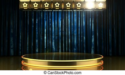 blue curtain stage with podium and loop lights