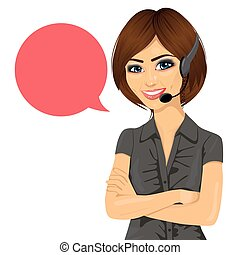 female customer support phone operator with arms crossed and...