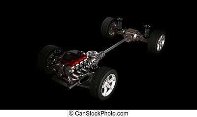 car chassis with engine alpha matted