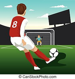 Soccer player taking penalty kick