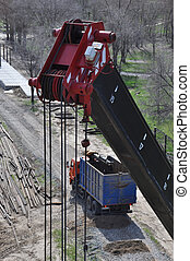 Crane top and truck - Crane top closeup view of the upper...