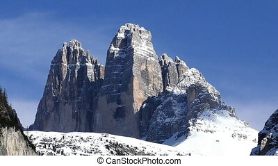 Tre Cime di Lavaredo, Dolomite mountains, Italy, full HD...