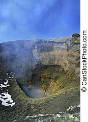Crater of the Villarica volcano. - Crater of the Villarica...