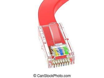 wire rj-45 on a white background, isolated 3d rendering