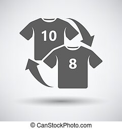 Soccer replace icon on gray background with round shadow....