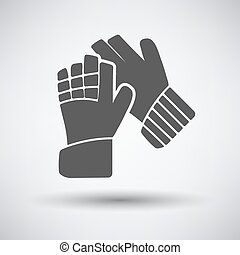 Soccer goalkeeper gloves icon on gray background with round...