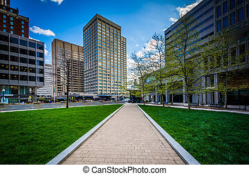 Walkway and modern buildings at Center Plaza in downtown Baltimore, Maryland.