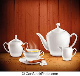 Tea Set Composition - Tea set composition with pot hot...