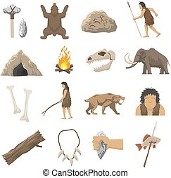 Stone Age Icons - Set color icons with elements of life in...