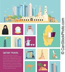 Qatar Culture Flat Icon Set - Qatar culture flat icon set...