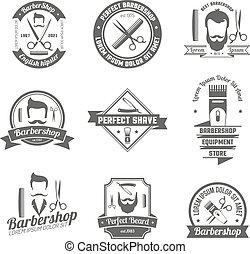 Barber Shop Emblem - Collection original grey sign of barber...