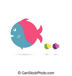 fish cartoon illustration in colorful