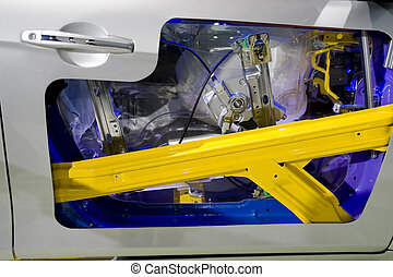 Car doors safety bumper - cut section of car doors safety...