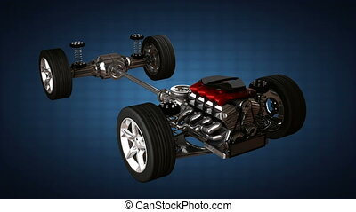 car chassis with engine. alpha matted