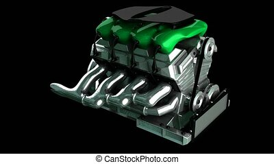 loop rotate car engine. alpha matte