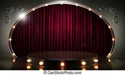 red curtain stage with podium