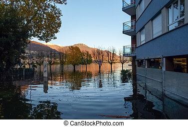 Locarno, streets submerged - Locarno Ticino, Switzerland -...
