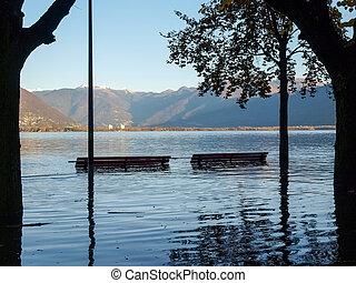 Locarno, lakefront submerged - Locarno Ticino, Switzerland -...