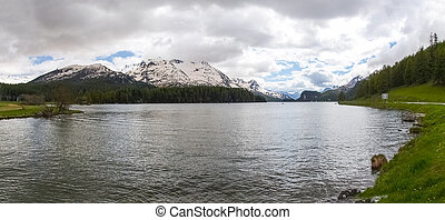 Engadine The Lake of St Moritz - Canton of Grisons, along...