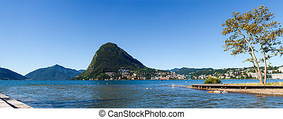 Monte San Salvatore and the mouth of the river Cassarate -...