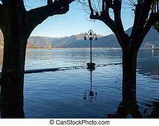 Locarno, lakefront submerged - Locarno Ticino, Switzerland -...