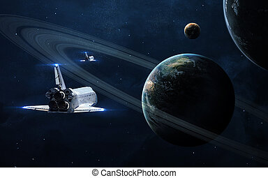 Abstract scientific background - glowing planet in space,...