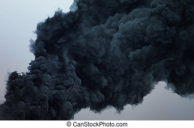 Black cloud of a terrible explosion in the sky