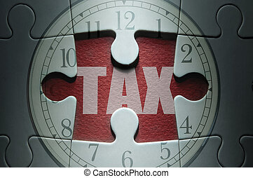 Tax deadline - Missing piece from a clock jigsaw puzzle with...