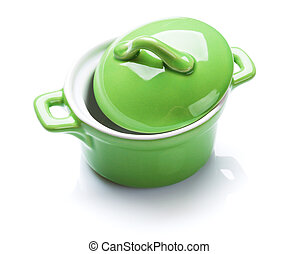 Saucepan - Green saucepan. Isolated on white background