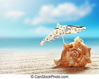 Summer beach.  Seashell and umbrella on a beach sand
