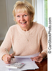 Smiling Senior Woman Reviewing Domestic Finances