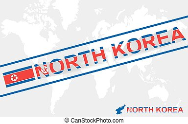 North Korea map flag and text illustration, on world map