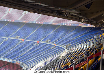 Football stadium Camp Nou interior stands in Barcelona