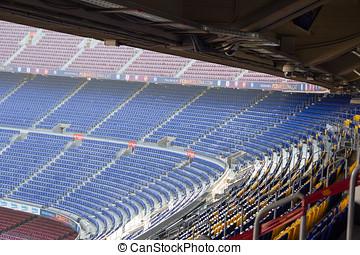 Football stadium Camp Nou interior stands in Barcelona