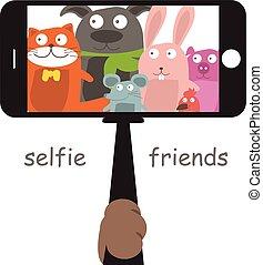 Monopod Selfie with cartoon animals .Vector