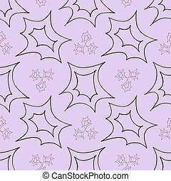 Seamless pattern of black stars shapes on purple background