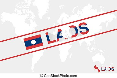 Laos map flag and text illustration